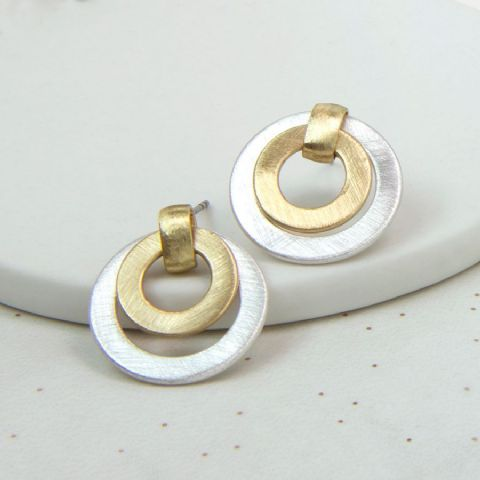 SILVER & GOLD RING STUDS